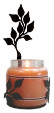 Wall Sconce, Candle Jar Holder, Leaf, Wrought Iron