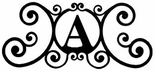 Monogram Wall Plaque, Letter A, Wrought Iron