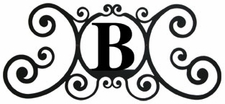 Monogram Wall Art, Letter B, Wrought Iron