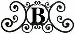 Monogram Wall Plaque, Letter B, Wrought Iron