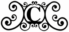Monogram Wall Plaque, Letter C, Wrought Iron