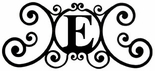 Monogram Wall Art, Letter E, Wrought Iron