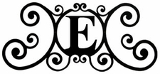 Monogram Wall Plaque, Letter E, Wrought Iron