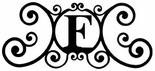 Monogram Wall Plaque, Letter F, Wrought Iron