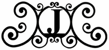 Monogram Wall Plaque, Letter J, Wrought Iron