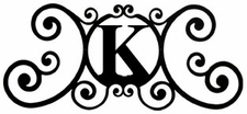 Monogram Wall Art, Letter K, Wrought Iron