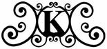 Monogram Wall Plaque, Letter K, Wrought Iron