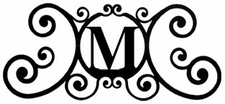 Monogram Wall Plaque, Letter M, Wrought Iron