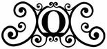 Monogram Wall Plaque, Letter O, Wrought Iron