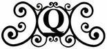 Monogram Wall Plaque, Letter Q, Wrought Iron