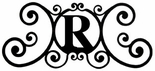Monogram Wall Plaque, Letter R, Wrought Iron