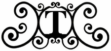 Monogram Wall Plaque, Letter T, Wrought Iron