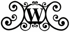 Monogram Wall Art, Letter W, Wrought Iron
