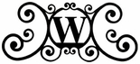 Monogram Wall Plaque, Letter W, Wrought Iron