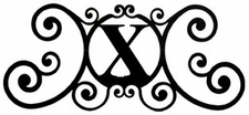 Monogram Wall Plaque, Letter X, Wrought Iron