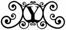 Monogram Wall Art, Letter Y, Wrought Iron
