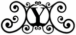 Monogram Wall Plaque, Letter Y, Wrought Iron