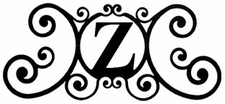 Monogram Wall Plaque, Letter Z, Wrought Iron