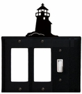 Double GFI and Switch Cover, Lighthouse, Wrought Iron