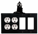 Double Outlet & Double GFI Cover, Lighthouse, Wrought Iron