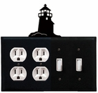 Double Outlet & Double Switch Cover, Lighthouse, Wrought Iron