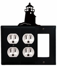 Double Outlet and GFI Cover, Lighthouse, Wrought Iron