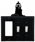 GFI and Double Switch Cover, Lighthouse, Wrought Iron