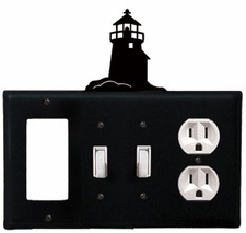 GFI, Double Switch and Outlet Cover, Lighthouse, Wrought Iron
