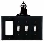 GFI and Triple Switch Cover, Lighthouse, Wrought Iron