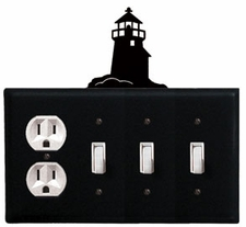 Outlet and Triple Switch Cover, Lighthouse, Wrought Iron