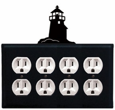 Quad Outlet Cover, Lighthouse, Wrought Iron