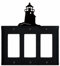 Triple GFI Cover, Lighthouse, Wrought Iron
