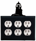 Triple Outlet Cover, Lighthouse, Wrought Iron