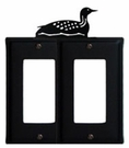 Double GFI Cover, Loon, Wrought Iron