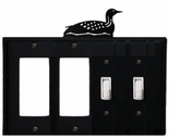 Double GFI & Double Switch Cover, Loon, Wrought Iron