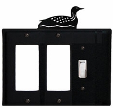 Double GFI and Switch Cover, Loon, Wrought Iron