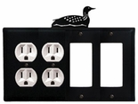 Double Outlet & Double GFI Cover, Loon, Wrought Iron
