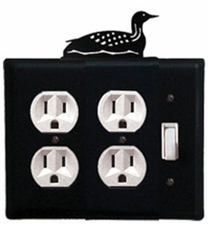 Double Outlet and Switch Cover, Loon, Wrought Iron