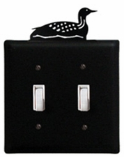Double Switch Cover, Loon, Duck, Wrought Iron