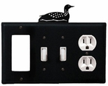 GFI, Double Switch and Outlet Cover, Loon, Wrought Iron