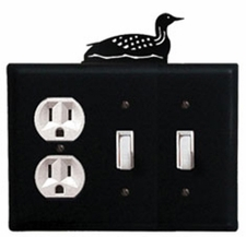 Outlet and Double Switch Cover, Loon, Wrought Iron