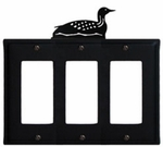 Triple GFI Cover, Loon, Wrought Iron