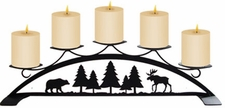 Pillar Candle Holder, Moose / Bear / Pine, Wrought Iron
