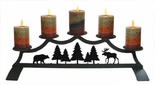 Fireplace Candle Holder, Wrought Iron, Moose & Bear