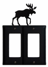 Double GFI Cover, Moose, Wrought Iron
