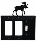 Double GFI and Switch Cover, Moose, Wrought Iron