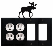 Double Outlet & Double GFI Cover, Moose, Wrought Iron