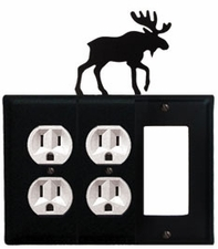 Double Outlet and GFI Cover, Moose, Wrought Iron