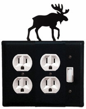 Double Outlet and Switch Cover, Moose, Wrought Iron