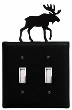 Double Switch Cover, Moose, Wrought Iron